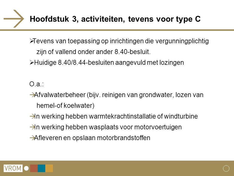 Hoofdstuk 3, activiteiten, tevens voor type C