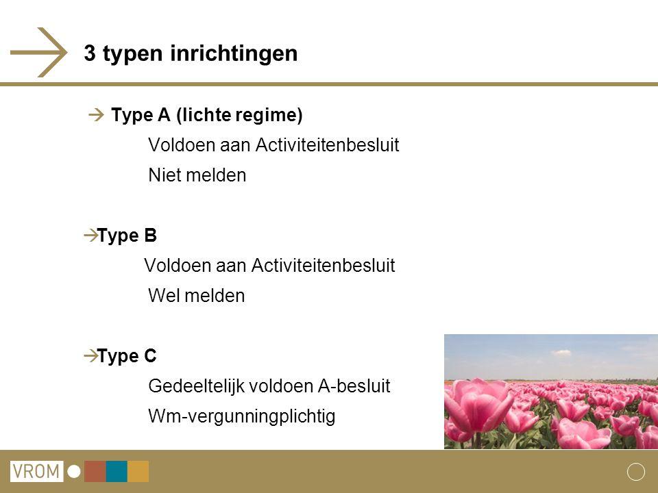 3 typen inrichtingen  Type A (lichte regime)