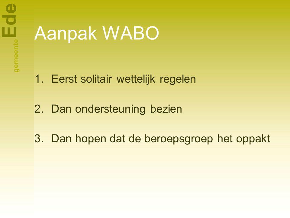 Aanpak WABO Eerst solitair wettelijk regelen Dan ondersteuning bezien