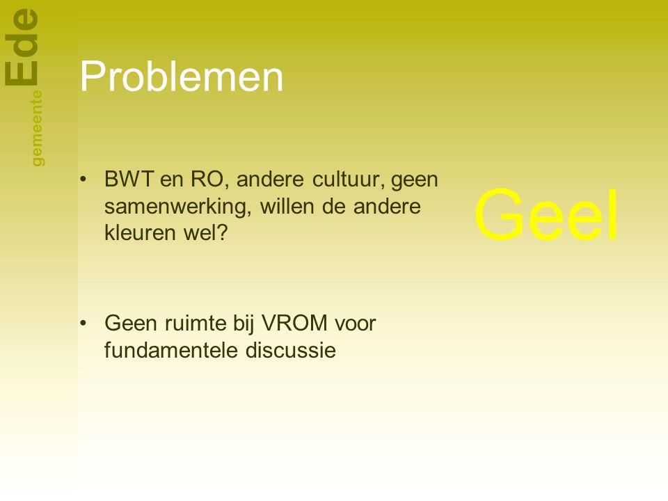 Problemen BWT en RO, andere cultuur, geen samenwerking, willen de andere kleuren wel.