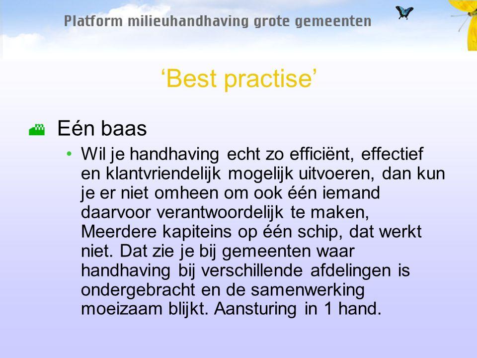 'Best practise' Eén baas