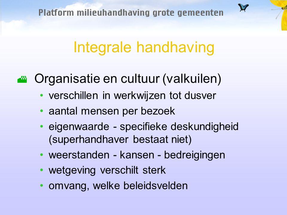 Integrale handhaving Organisatie en cultuur (valkuilen)