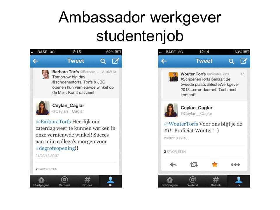 Ambassador werkgever studentenjob