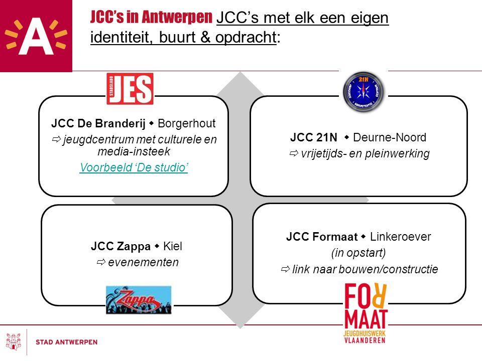 JCC's in Antwerpen JCC's met elk een eigen identiteit, buurt & opdracht: