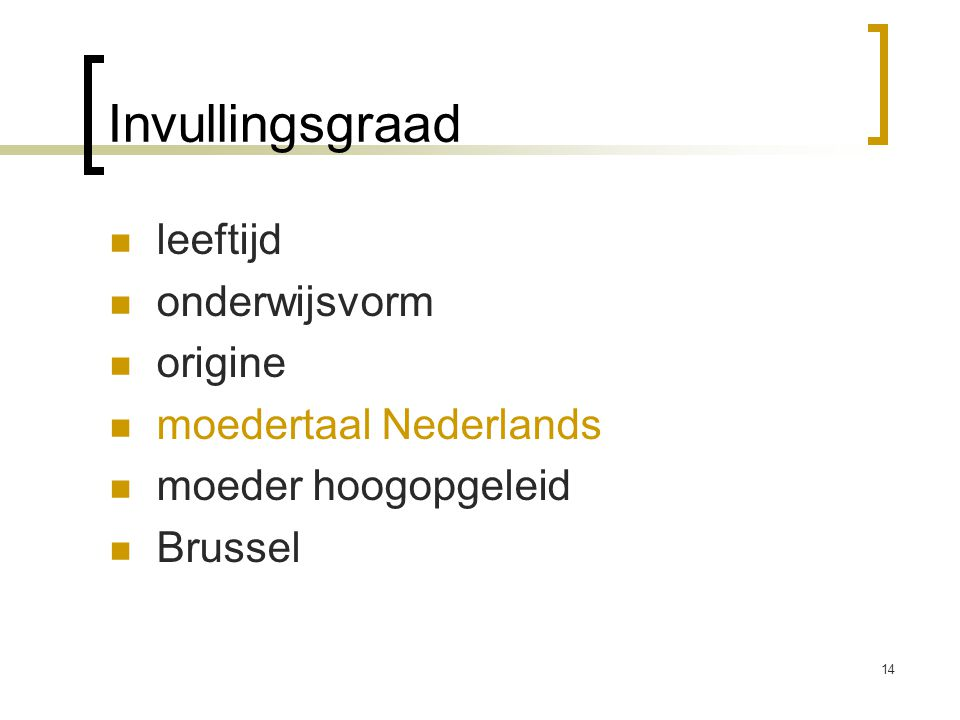 Invullingsgraad leeftijd onderwijsvorm origine moedertaal Nederlands