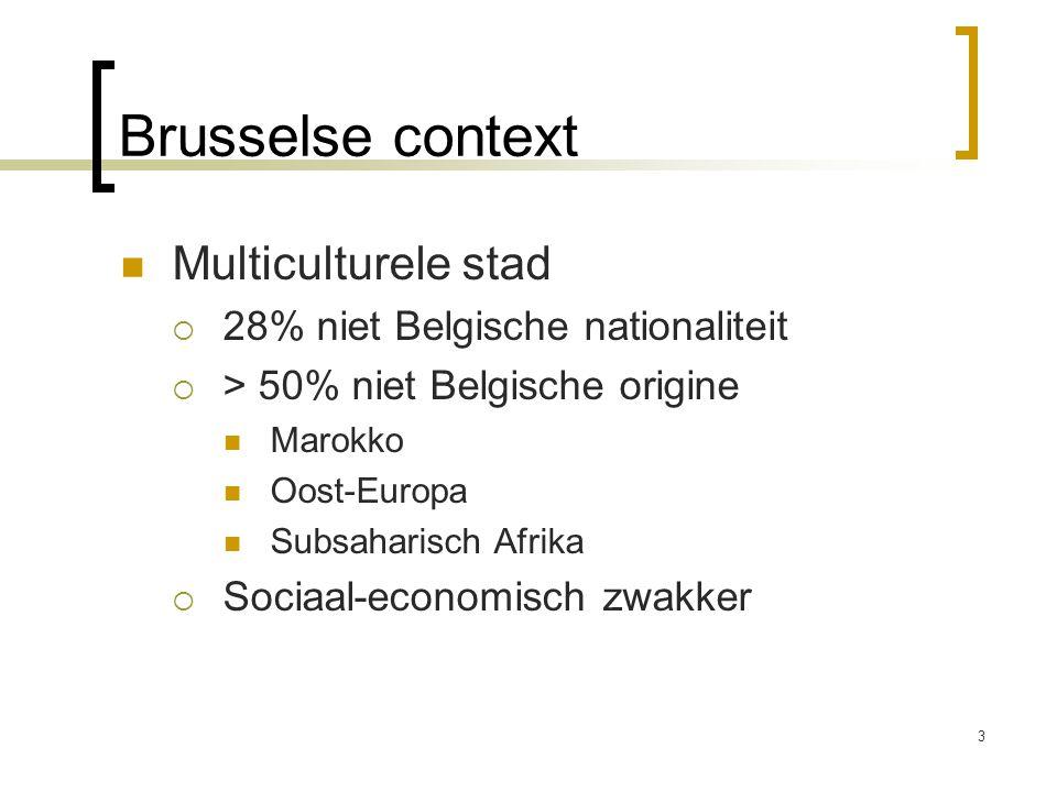 Brusselse context Multiculturele stad 28% niet Belgische nationaliteit