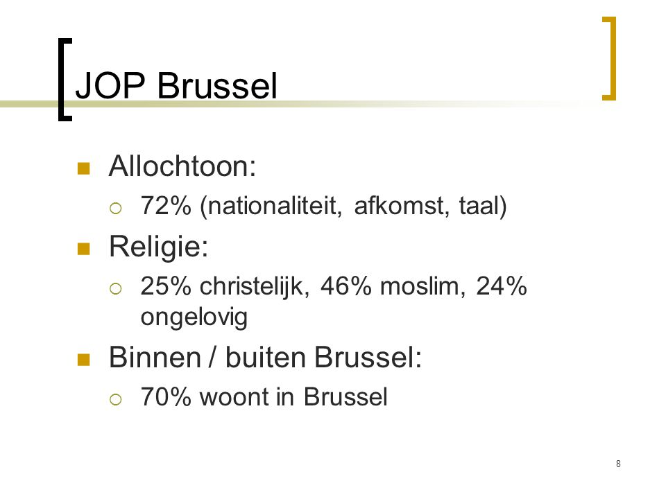 JOP Brussel Allochtoon: Religie: Binnen / buiten Brussel: