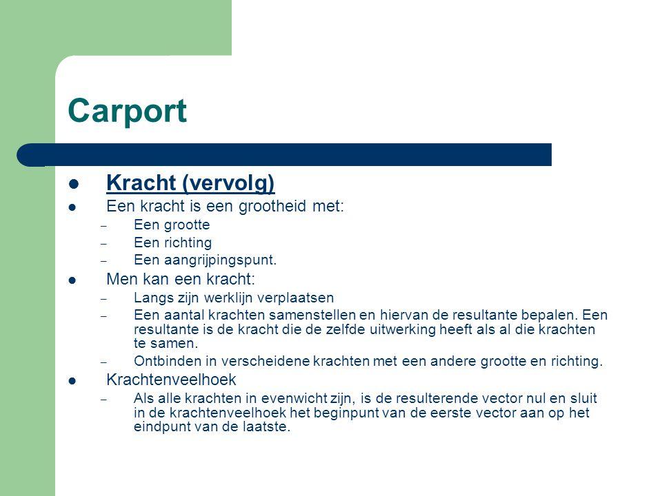 Carport Kracht (vervolg) Een kracht is een grootheid met: