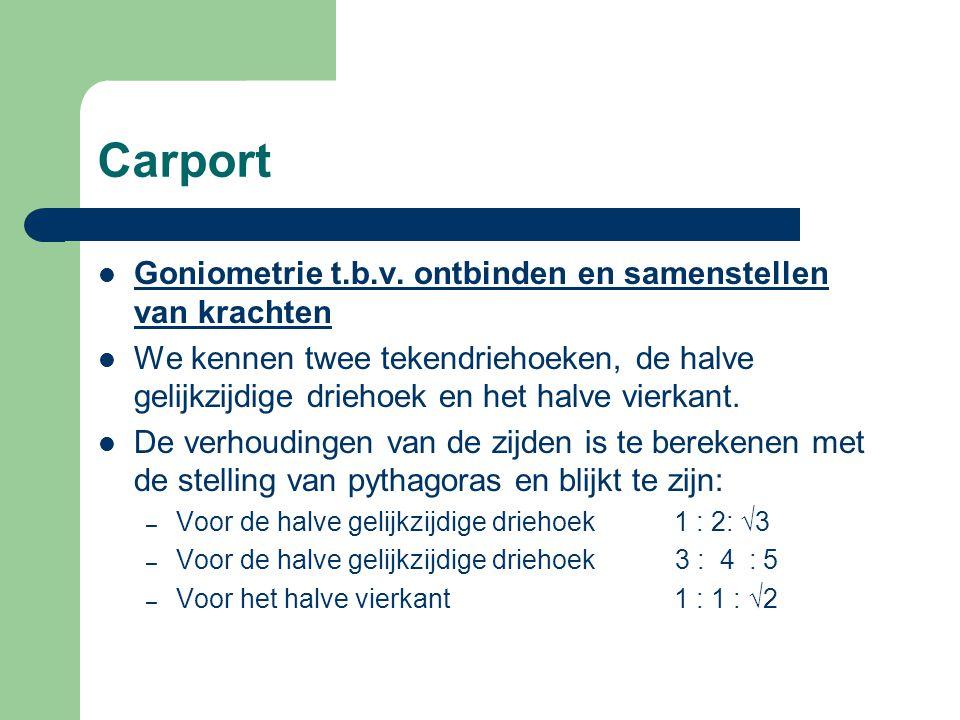 Carport Goniometrie t.b.v. ontbinden en samenstellen van krachten