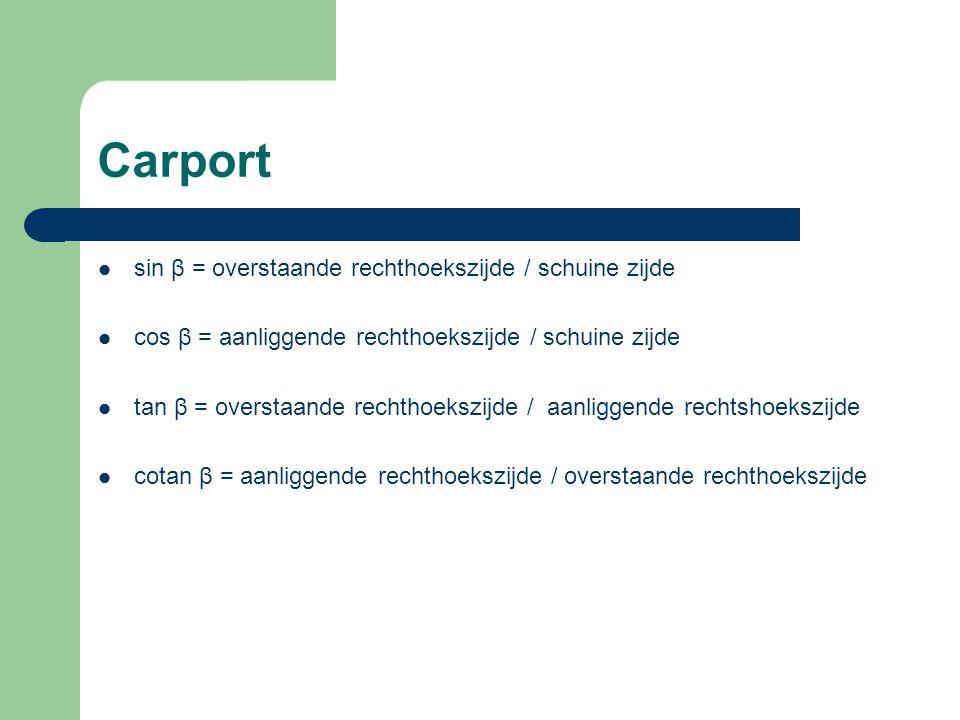 Carport sin β = overstaande rechthoekszijde / schuine zijde