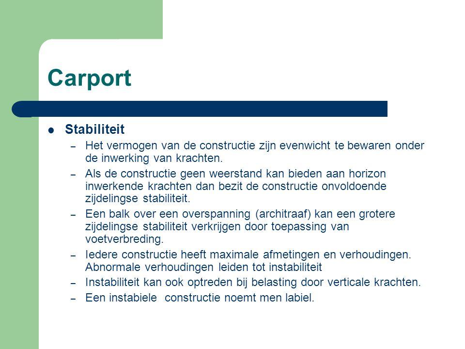 Carport Stabiliteit. Het vermogen van de constructie zijn evenwicht te bewaren onder de inwerking van krachten.