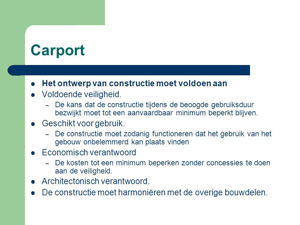 Carport Het ontwerp van constructie moet voldoen aan