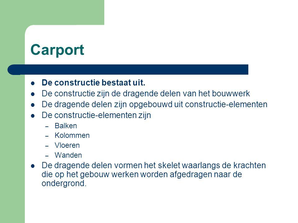 Carport De constructie bestaat uit.