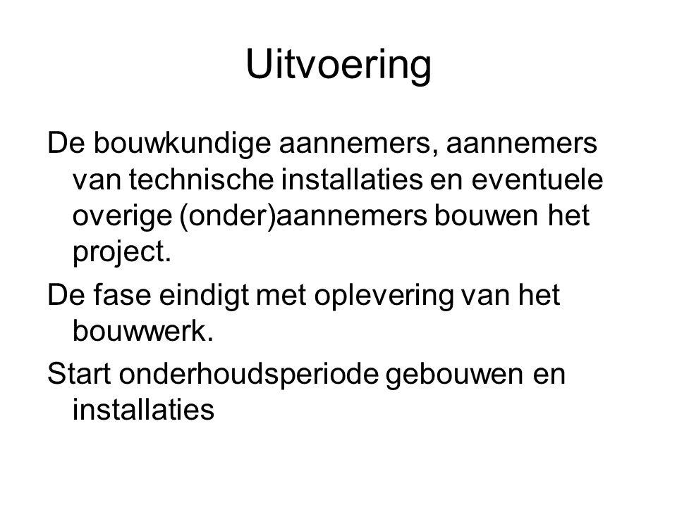 Uitvoering De bouwkundige aannemers, aannemers van technische installaties en eventuele overige (onder)aannemers bouwen het project.