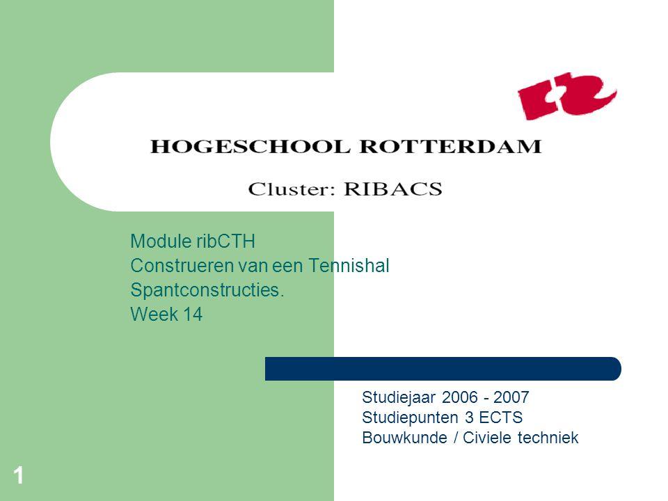 Module ribCTH Construeren van een Tennishal Spantconstructies. Week 14