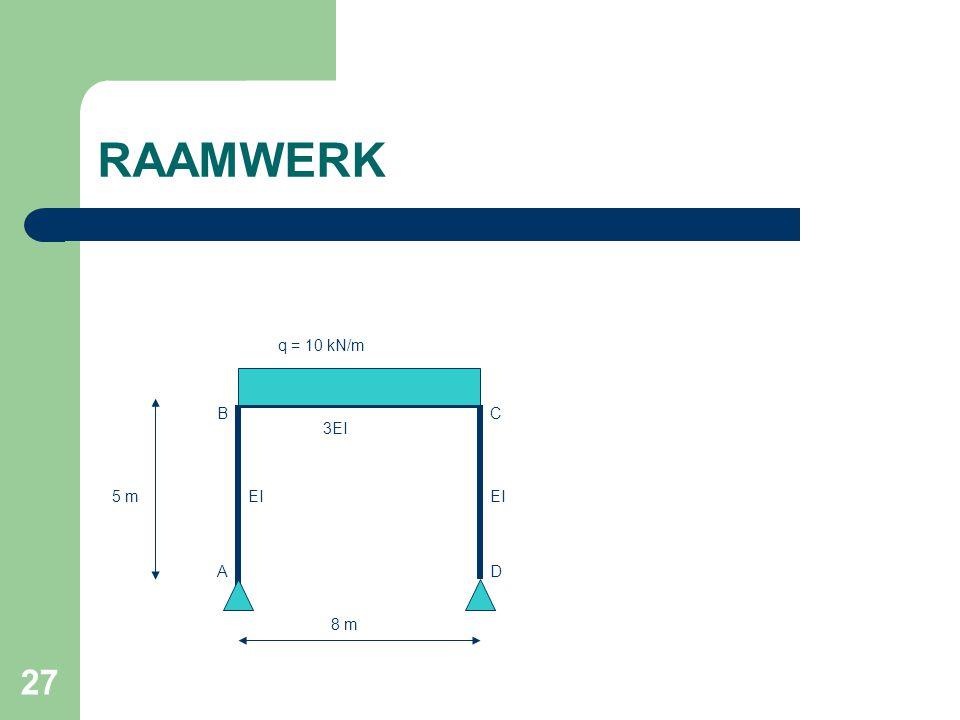 RAAMWERK q = 10 kN/m B C 3EI 5 m EI EI A D 8 m