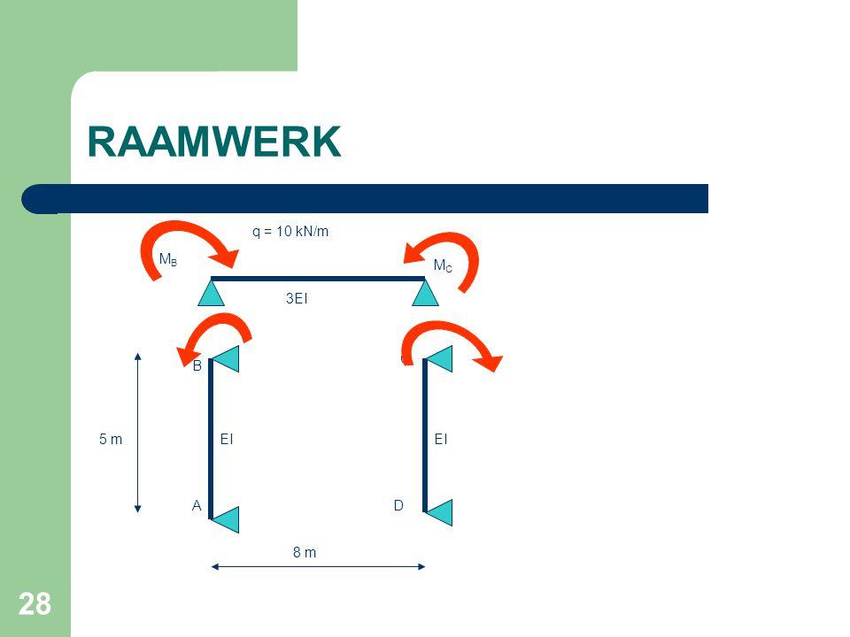 RAAMWERK q = 10 kN/m MB MC 3EI C B 5 m EI EI A D 8 m