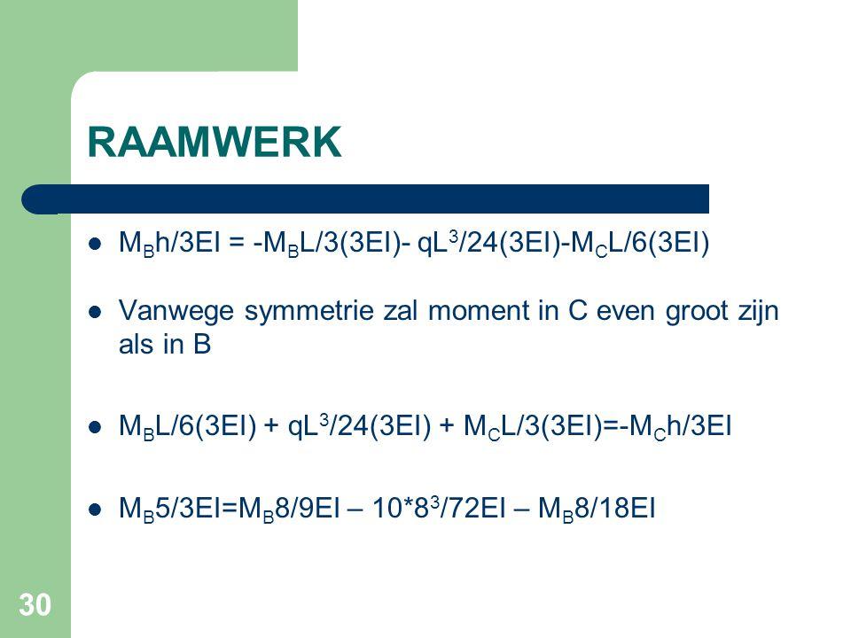 RAAMWERK MBh/3EI = -MBL/3(3EI)- qL3/24(3EI)-MCL/6(3EI)