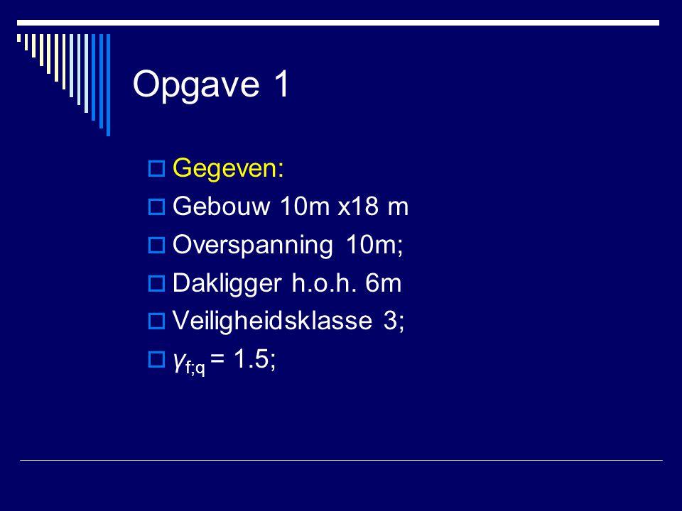 Opgave 1 Gegeven: Gebouw 10m x18 m Overspanning 10m;