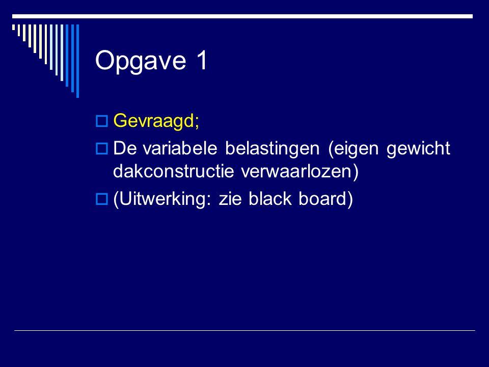 Opgave 1 Gevraagd; De variabele belastingen (eigen gewicht dakconstructie verwaarlozen) (Uitwerking: zie black board)