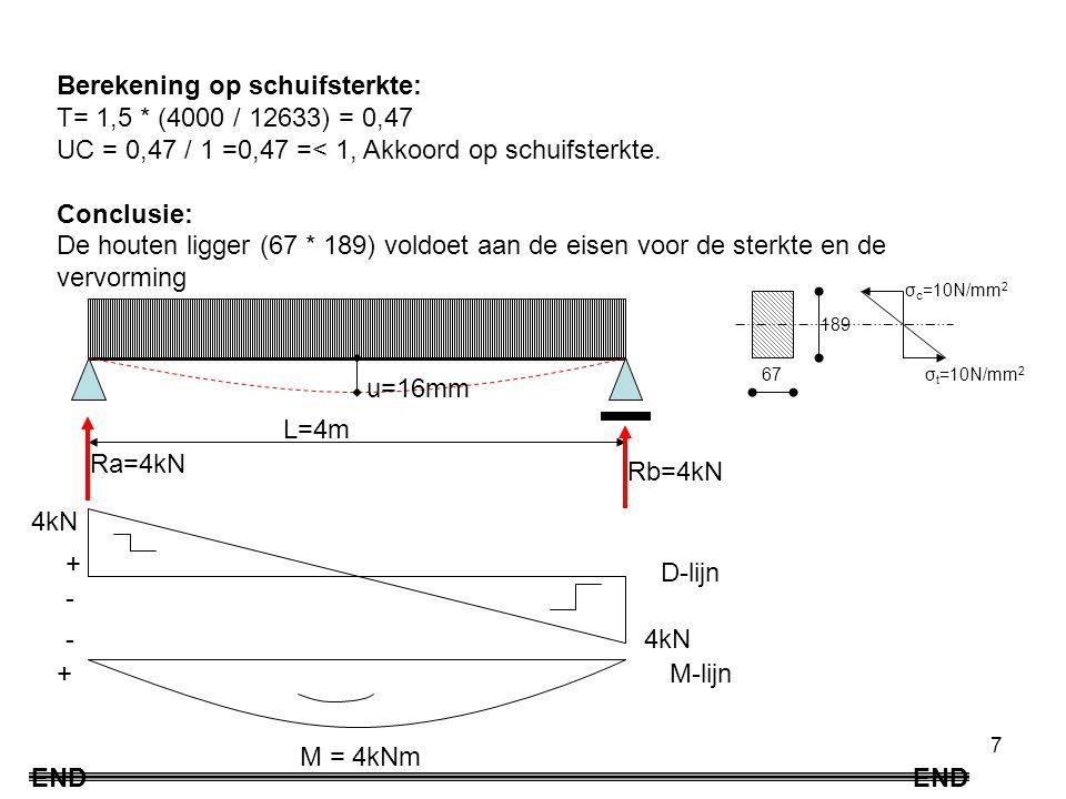 Berekening op schuifsterkte: Τ= 1,5 * (4000 / 12633) = 0,47