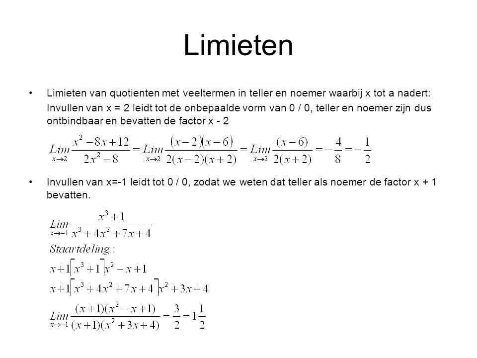 Limieten Limieten van quotienten met veeltermen in teller en noemer waarbij x tot a nadert:
