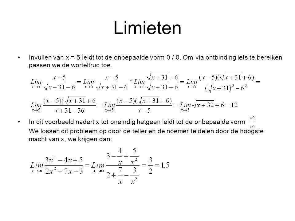 Limieten Invullen van x = 5 leidt tot de onbepaalde vorm 0 / 0. Om via ontbinding iets te bereiken passen we de worteltruc toe.