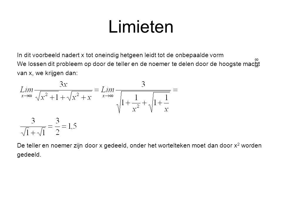 Limieten In dit voorbeeld nadert x tot oneindig hetgeen leidt tot de onbepaalde vorm.