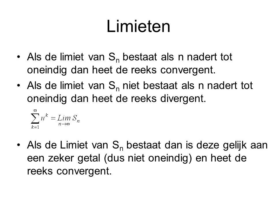 Limieten Als de limiet van Sn bestaat als n nadert tot oneindig dan heet de reeks convergent.