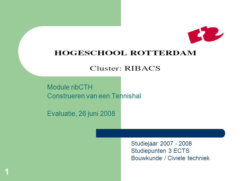 Module ribCTH Construeren van een Tennishal Evaluatie, 26 juni 2008
