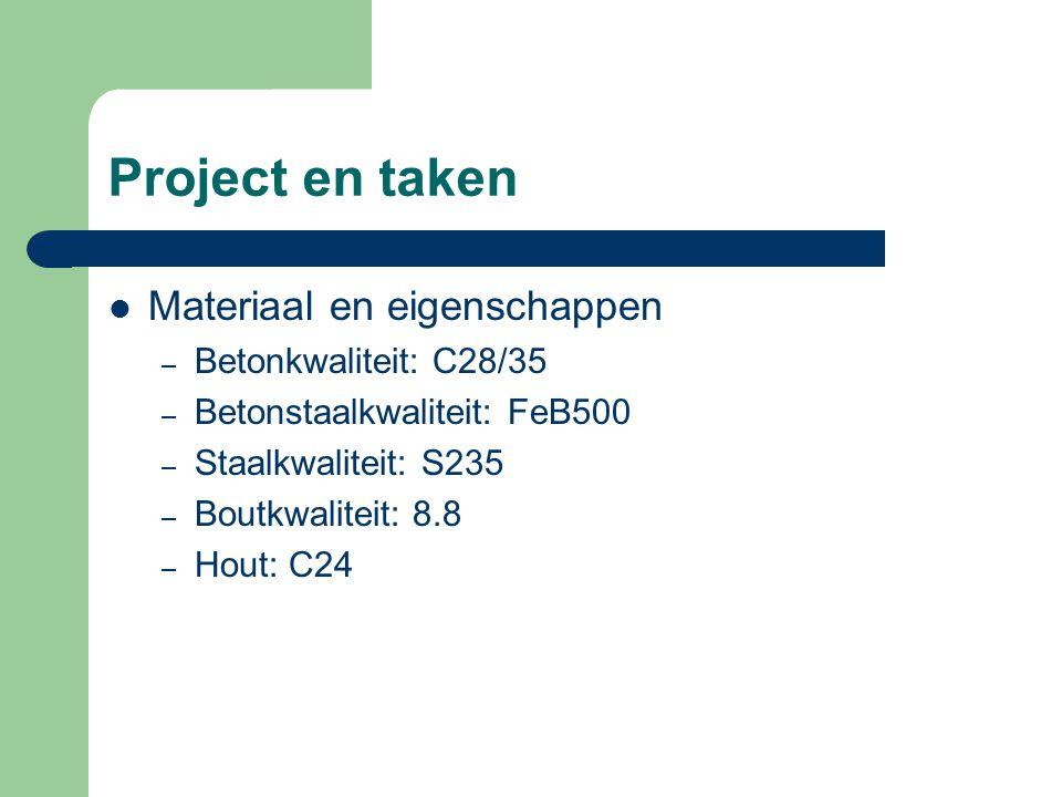Project en taken Materiaal en eigenschappen Betonkwaliteit: C28/35