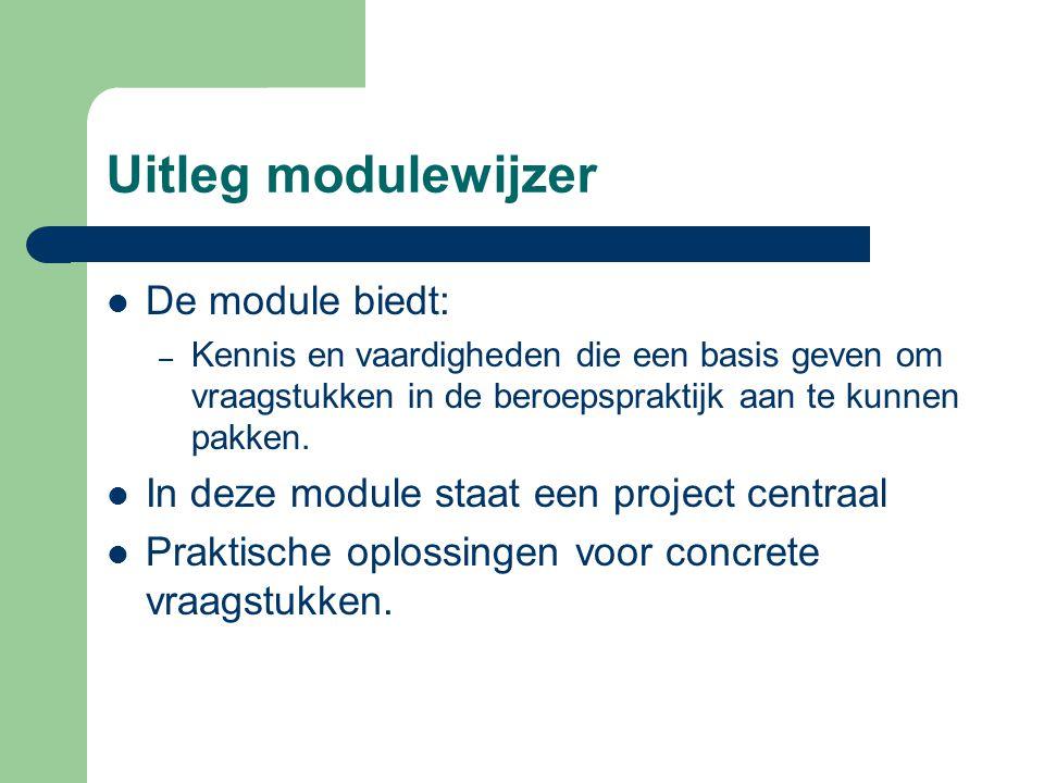Uitleg modulewijzer De module biedt: