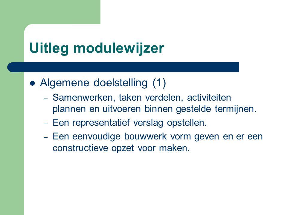 Uitleg modulewijzer Algemene doelstelling (1)