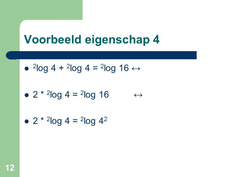 Voorbeeld eigenschap 4 2log 4 + 2log 4 = 2log 16 ↔