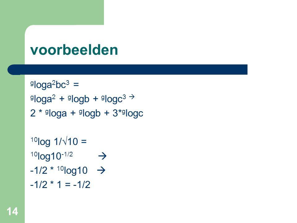 voorbeelden gloga2bc3 = gloga2 + glogb + glogc3 