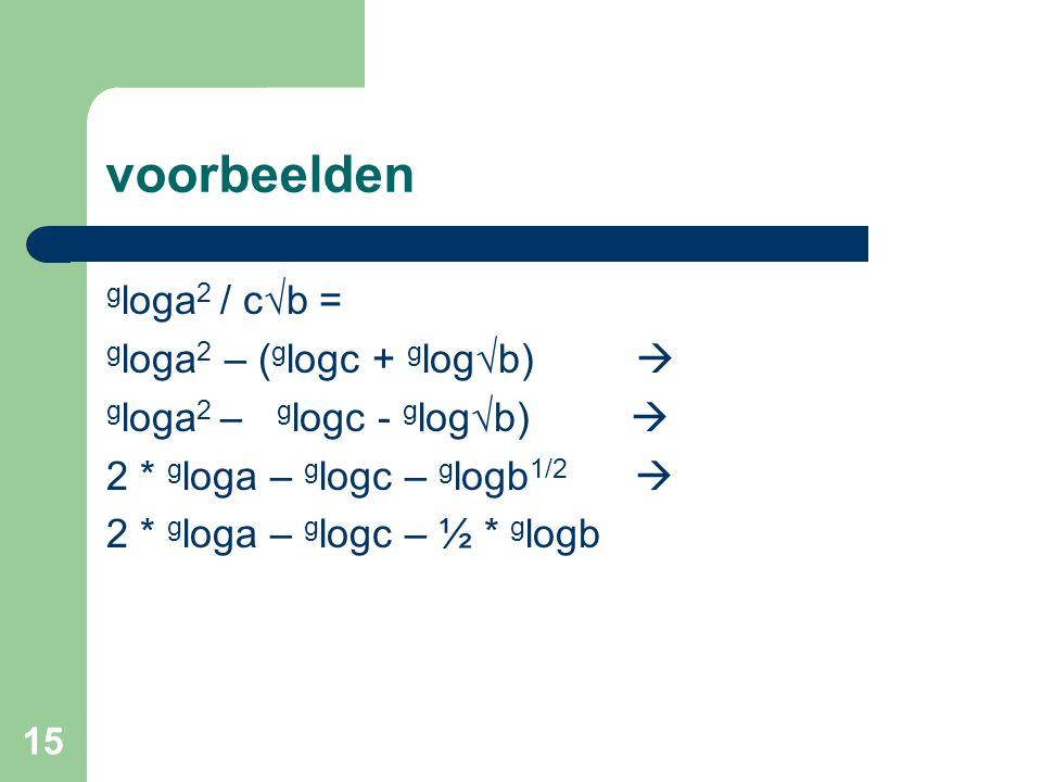 voorbeelden gloga2 / c√b = gloga2 – (glogc + glog√b) 