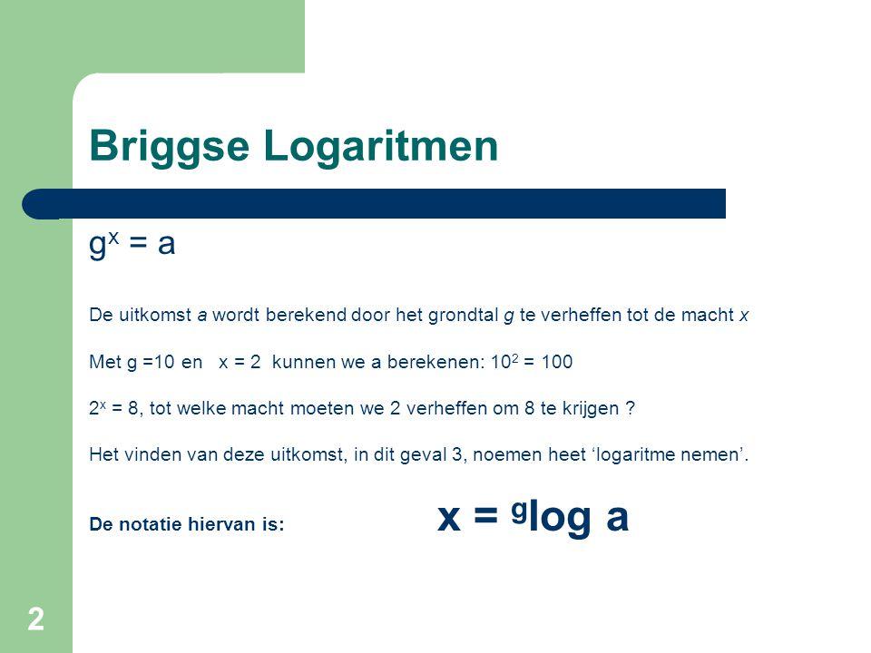 Briggse Logaritmen gx = a