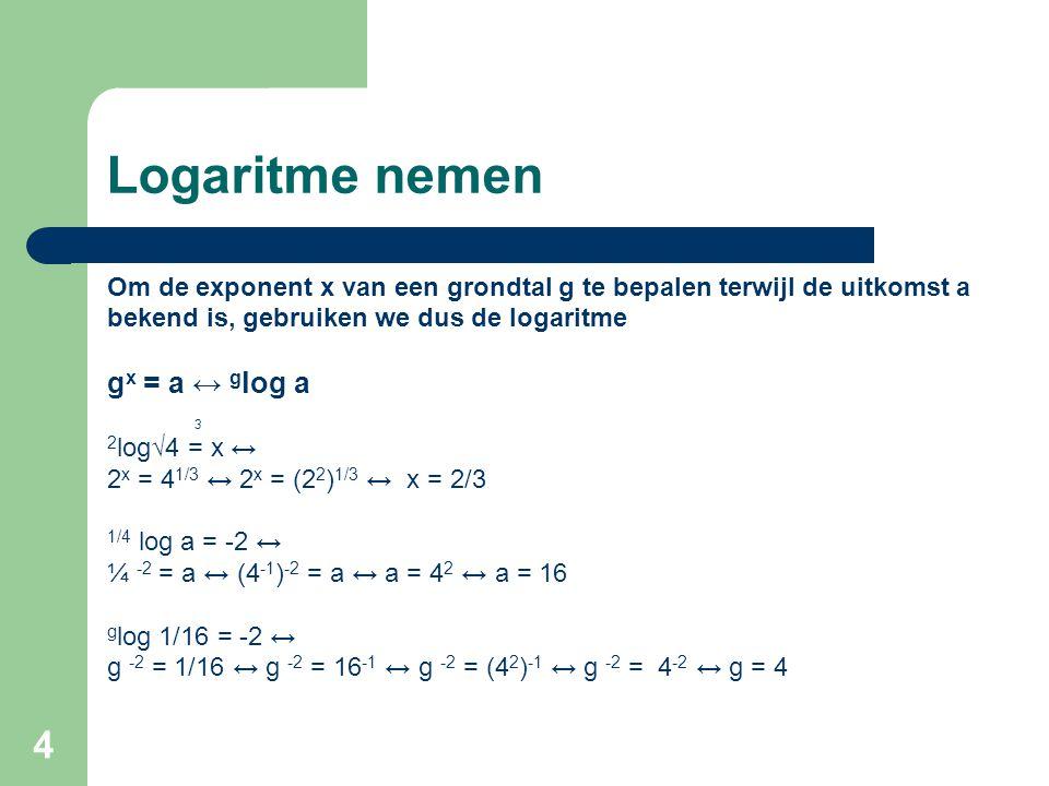 Logaritme nemen gx = a ↔ glog a