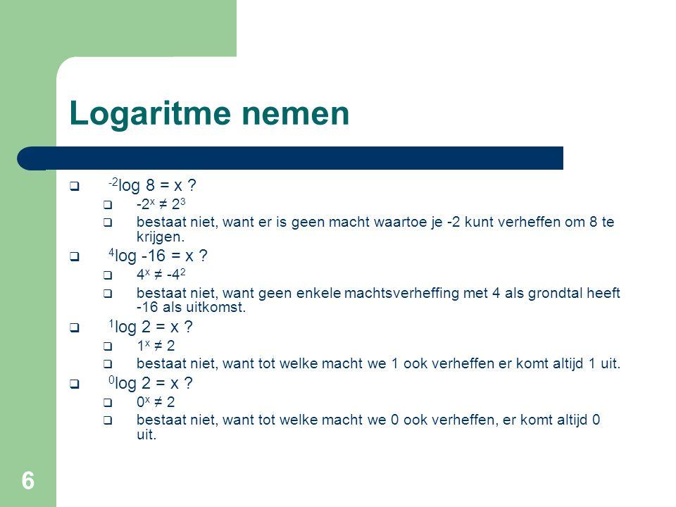 Logaritme nemen -2log 8 = x 4log -16 = x 1log 2 = x 0log 2 = x