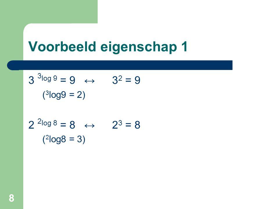 Voorbeeld eigenschap 1 3 3log 9 = 9 ↔ 32 = 9 2 2log 8 = 8 ↔ 23 = 8