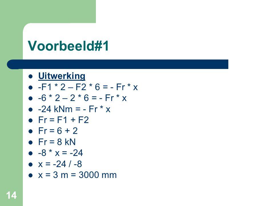 Voorbeeld#1 Uitwerking -F1 * 2 – F2 * 6 = - Fr * x