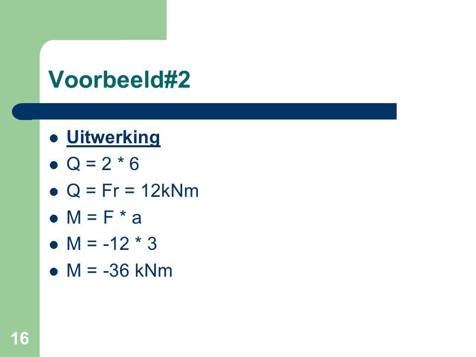 Voorbeeld#2 Uitwerking Q = 2 * 6 Q = Fr = 12kNm M = F * a M = -12 * 3