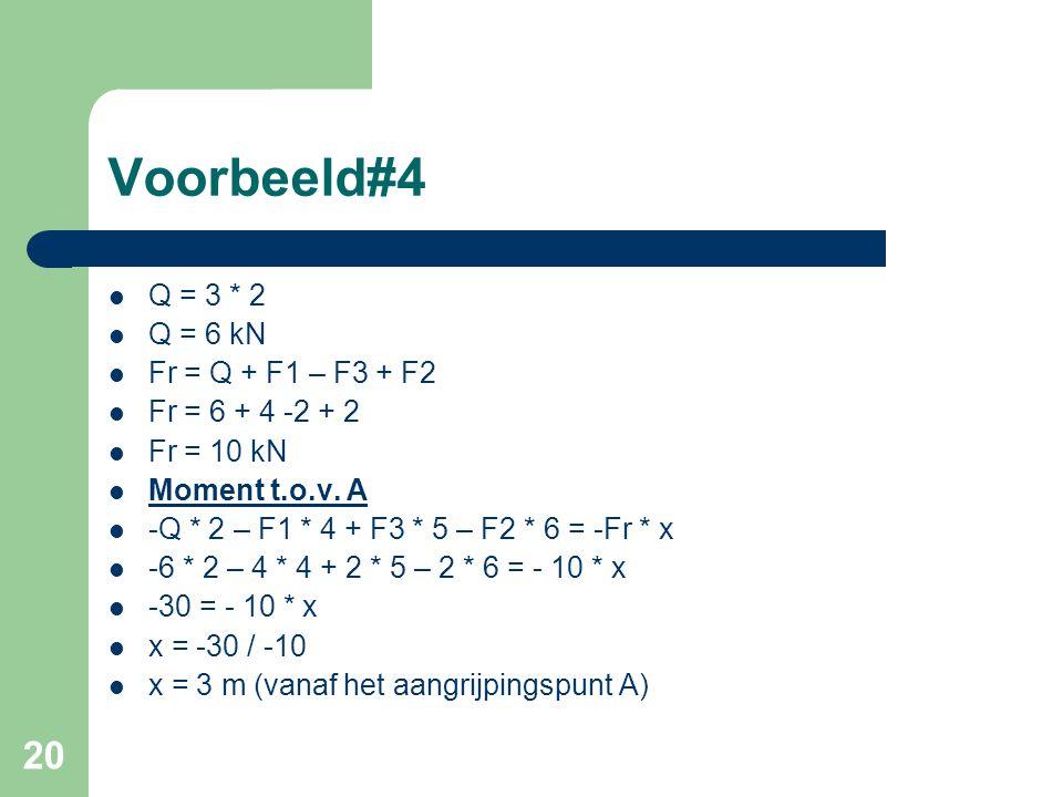 Voorbeeld#4 Q = 3 * 2 Q = 6 kN Fr = Q + F1 – F3 + F2 Fr = 6 + 4 -2 + 2