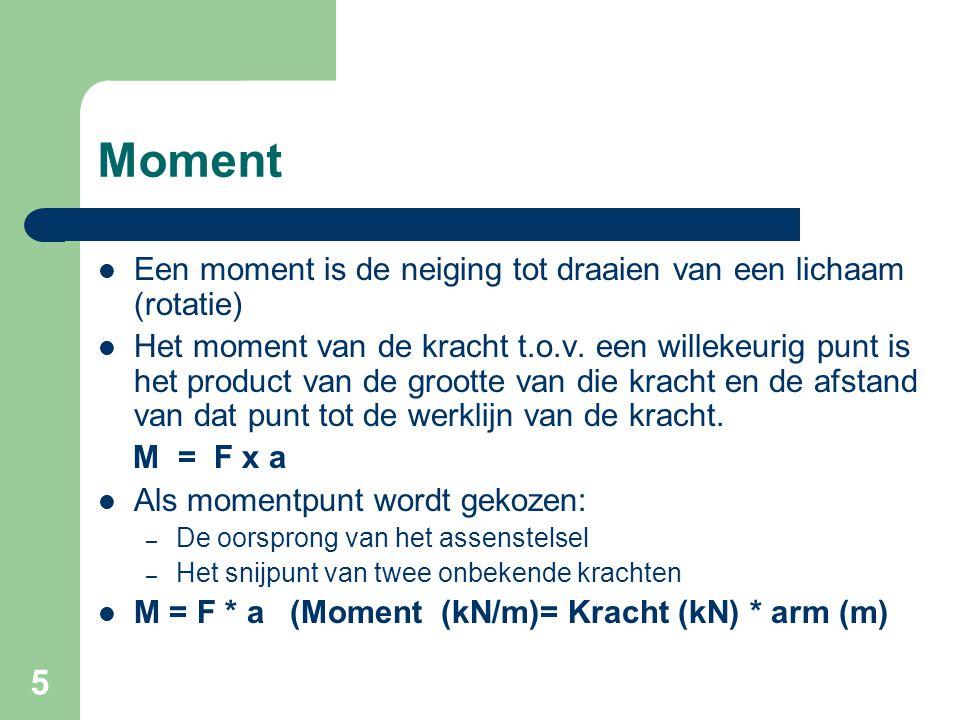 Moment Een moment is de neiging tot draaien van een lichaam (rotatie)