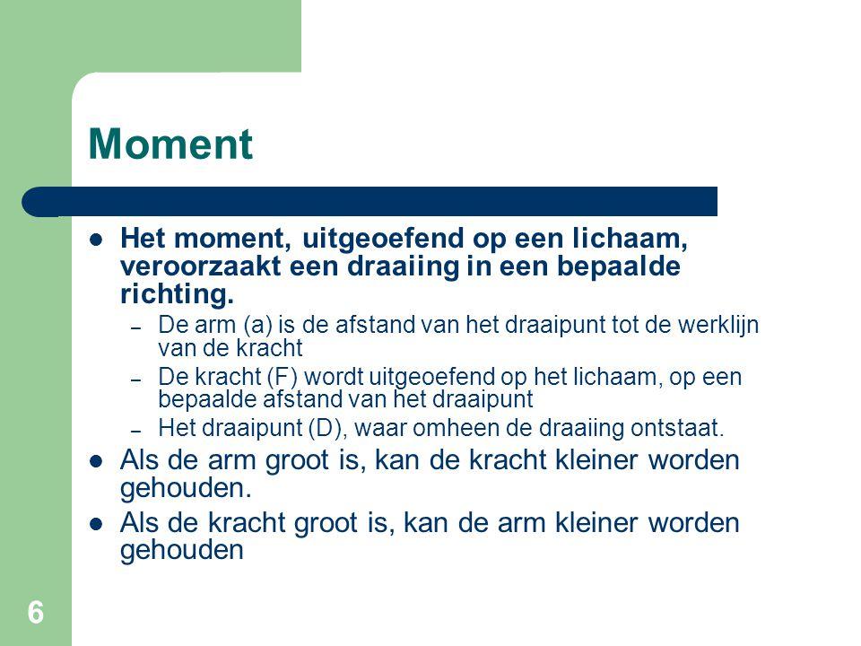 Moment Het moment, uitgeoefend op een lichaam, veroorzaakt een draaiing in een bepaalde richting.