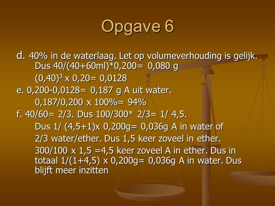 Opgave 6 d. 40% in de waterlaag. Let op volumeverhouding is gelijk. Dus 40/(40+60ml)*0,200= 0,080 g.