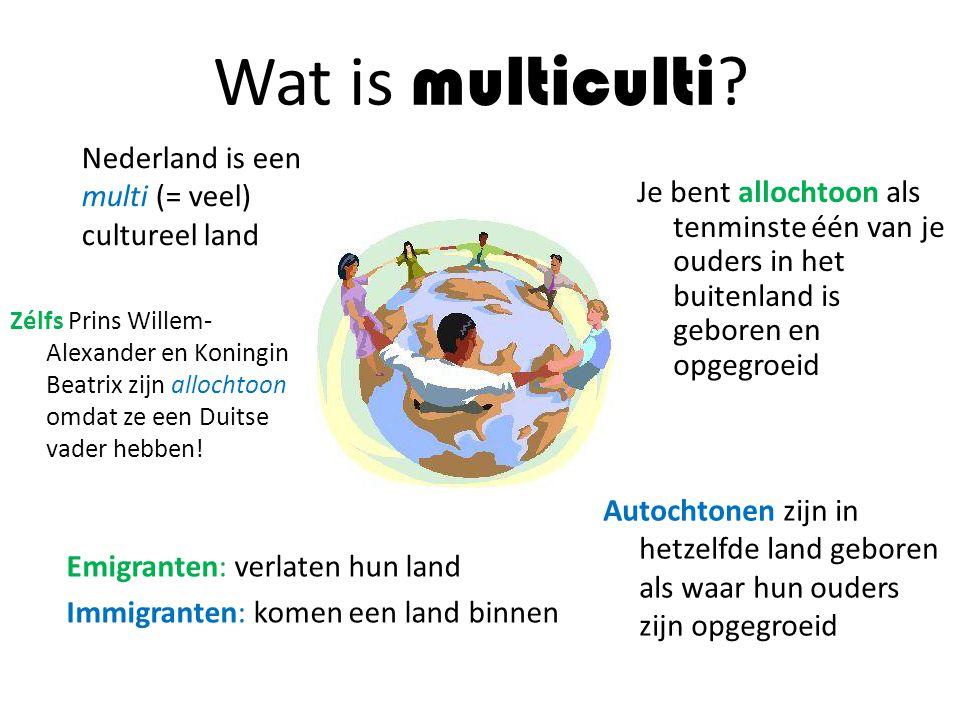 Wat is multiculti Nederland is een multi (= veel) cultureel land