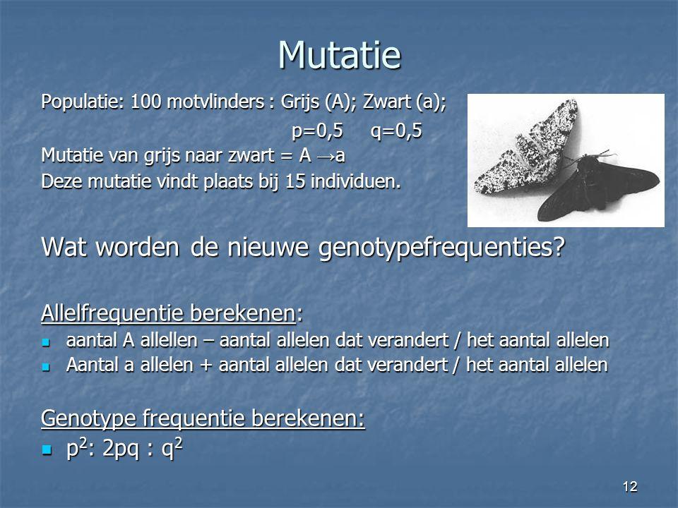 Mutatie Wat worden de nieuwe genotypefrequenties