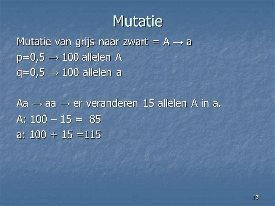 Mutatie Mutatie van grijs naar zwart = A → a p=0,5 → 100 allelen A
