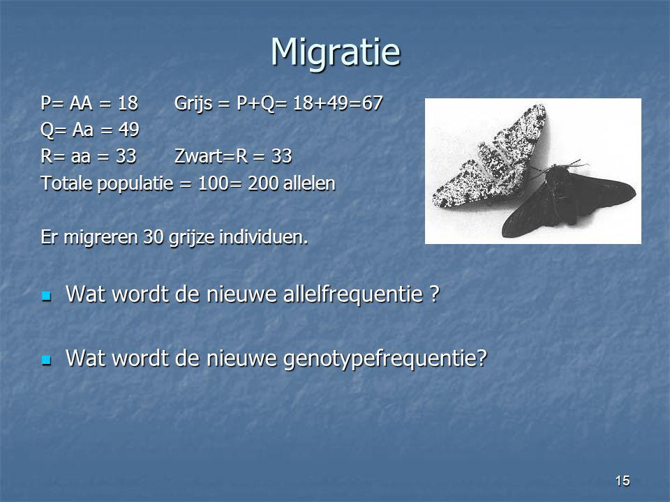 Migratie Wat wordt de nieuwe allelfrequentie